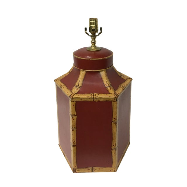 Asian 1980s Vintage English Export Tole Tea Caddy Lamp For Sale - Image 3 of 5