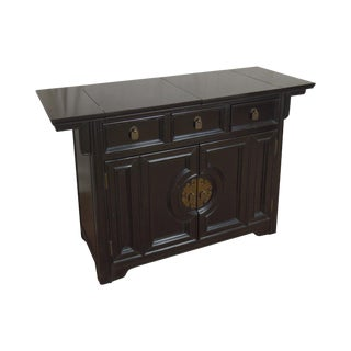 Century Mid Century Asian Inspired Black Lacquer Painted Bar Server Cabinet