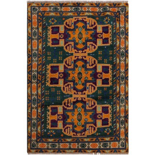 """Balouchi Alexis Green/Ivory Wool Rug - 3'3"""" X 4'10"""" For Sale"""