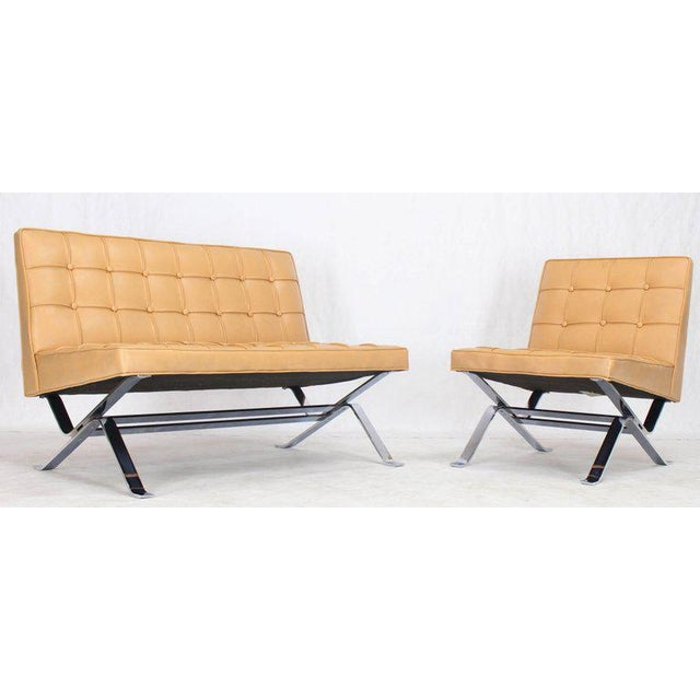Mid-Century Modern Mid-Century Modern Tufted Upholstery Chrome Base Settee Loveseat and Chair Set - 2 Pieces For Sale - Image 3 of 11