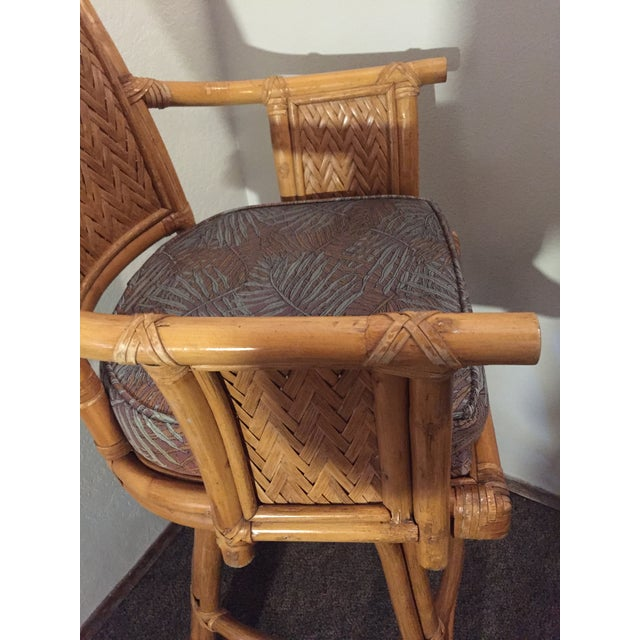Wicker Vintage Whitecraft Rattan Swivel Barstool For Sale - Image 7 of 9