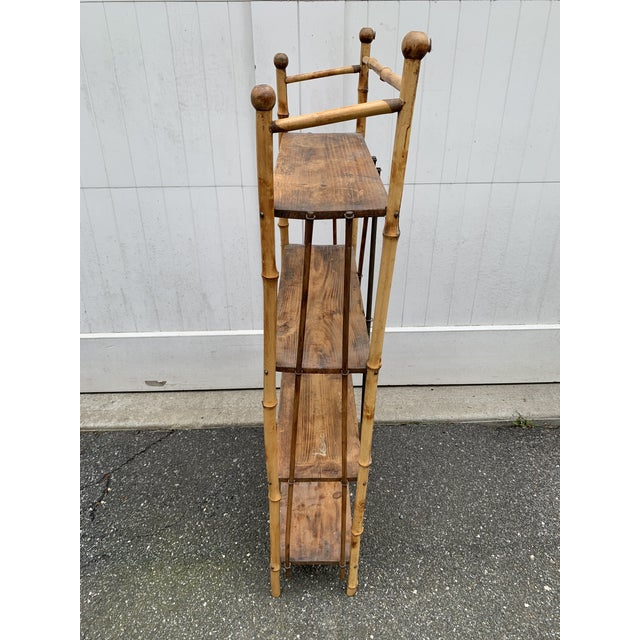 Victorian Antique Burnt Bamboo Shelf For Sale - Image 3 of 13