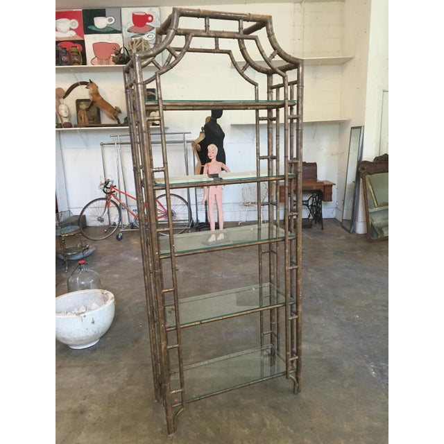 60s Vintage Hollywood Regency Faux Bamboo Bronze Patina Etagere - Image 3 of 9
