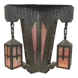 1920s Arts and Crafts Flush Mount Pendant Light For Sale