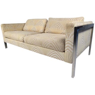 Mid-Century Modern Chrome and Fabric Sofa After Milo Baughman For Sale