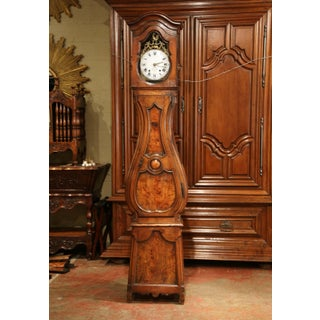 Late 18th Century French Louis XV Carved Burl Walnut Tall Case Clock From Lyon Preview