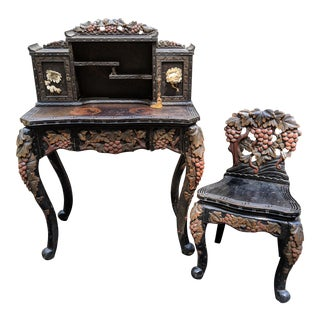 Antique 1800s Japanese Meiji Writing Desk & Hutch With Matching Chair - 3 Piece Set For Sale