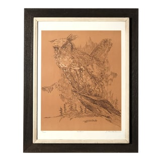Midcentury Owl Lithograph by Z. Charlotte Sherman For Sale