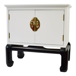 1970s Vintage Lane Chinoiserie Black & White Nightstand