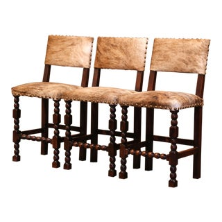 Set of Three 19th Century French Carved Oak, Leather and Cow Hide Bar Stools For Sale