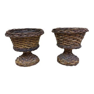 Vintage Wicker Urn Planters - a Pair For Sale