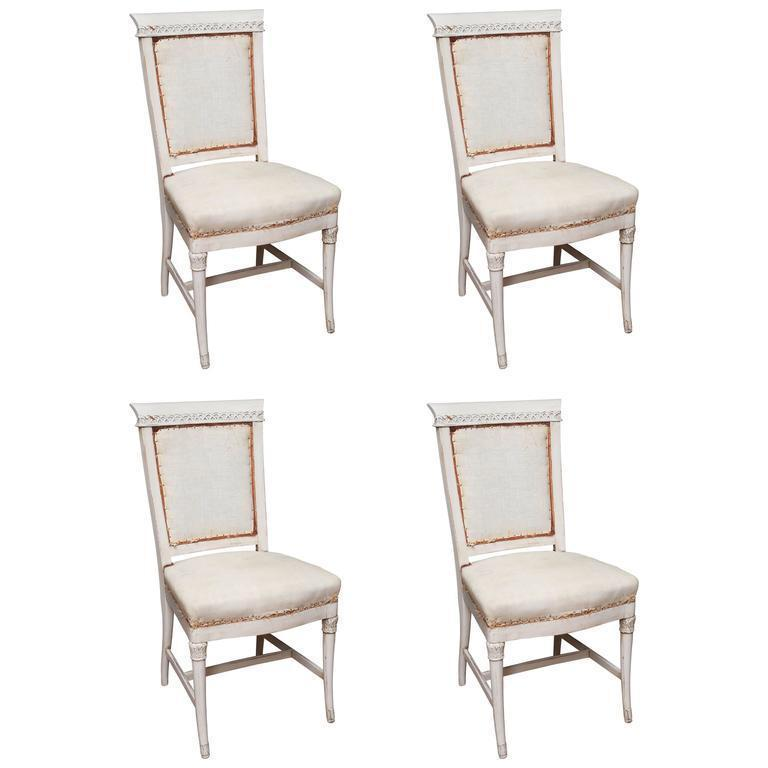 french dining chairs. Wood Antique Hand Painted French Dining Chairs - Set Of 4 For Sale Image 7 C