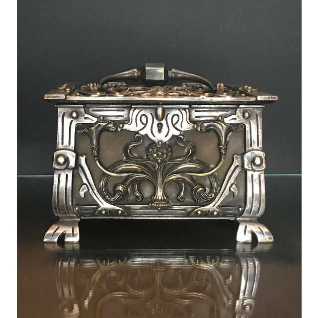 20th Century Art Nouveau Silvered Heavy Bronze Jewelry Box Casket For Sale - Image 11 of 13
