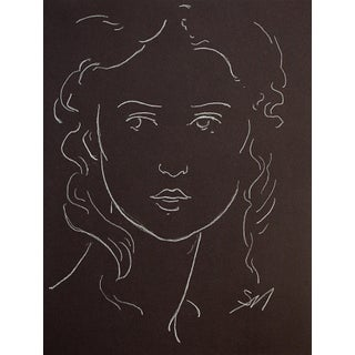 """""""Woman With Long Tresses"""" Contemporary White Charcoal Portrait Drawing by Sarah Myers For Sale"""