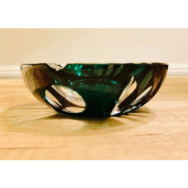 Vintage Bohemian Crystal Style Glass Ashtray For Sale - Image 9 of 9