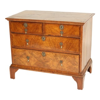 Antique George I Style Burl Walnut Chest of Drawers For Sale