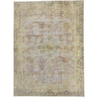 Distressed Vintage Shabby Chic Turkish Rug For Sale