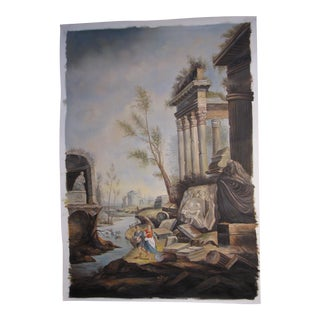 """Mid Century Vintage """"Ancient Roman Ruins by a River"""" Oil Painting For Sale"""