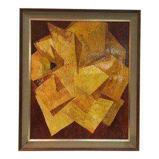 1966 Abstract Cubism Framed Painting