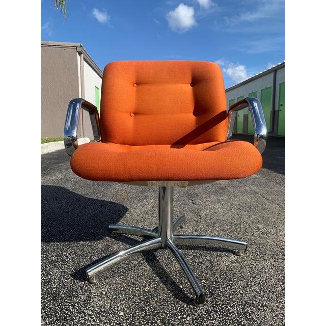 Orange Vintage Steelcase Orange Tweed Office Swivel Chair For Sale - Image 8 of 12