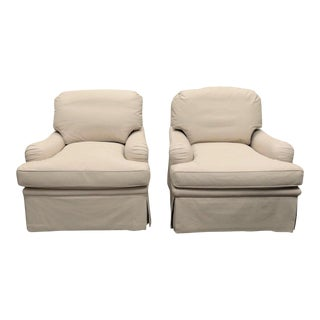 Henry Chan Bespoke Leather Swivel Lounge Chairs - a Pair For Sale