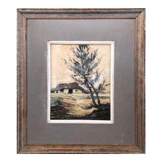 1950s Rustic French Style Farmhouse Landscape Pastel For Sale