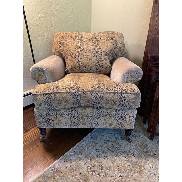 This is a beautiful pair of George Smith Short Scroll Arm Chairs with loose back cushions. The back and seat cushions are...