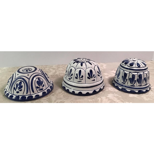 Vintage Blue & White Decorative Ceramic Molds - Set of 3 For Sale In Dallas - Image 6 of 8