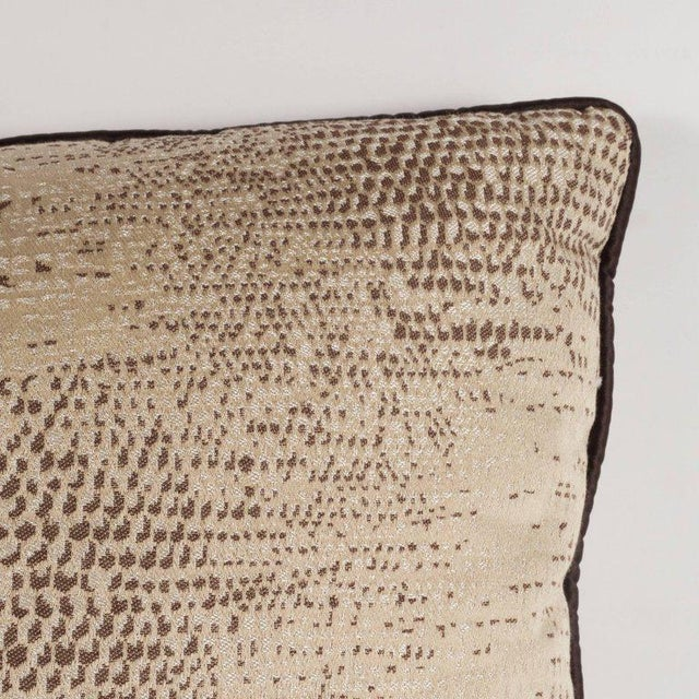 Pair of Modernist Pillows with Dark Chocolate Piping and Stylized Lizard Print For Sale - Image 4 of 8