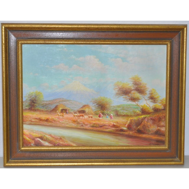 Offered is a lovely impressionist landscape showing rural life in Ecuador by listed artist Oswaldo Moncayo (1923-1984)....