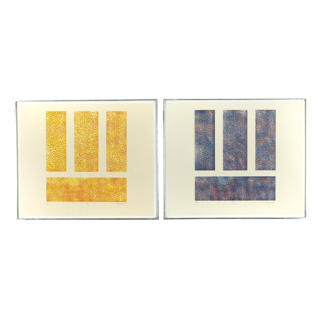 Pair of Mid-Century Serigraph Prints by J. Linton For Sale