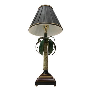 Italian Modern Hand-Painted Palm Table Lamp With Original Shade - a Pair For Sale