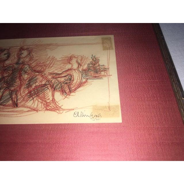 Chaim Gross Signed Original Crayon Drawing - Image 6 of 7