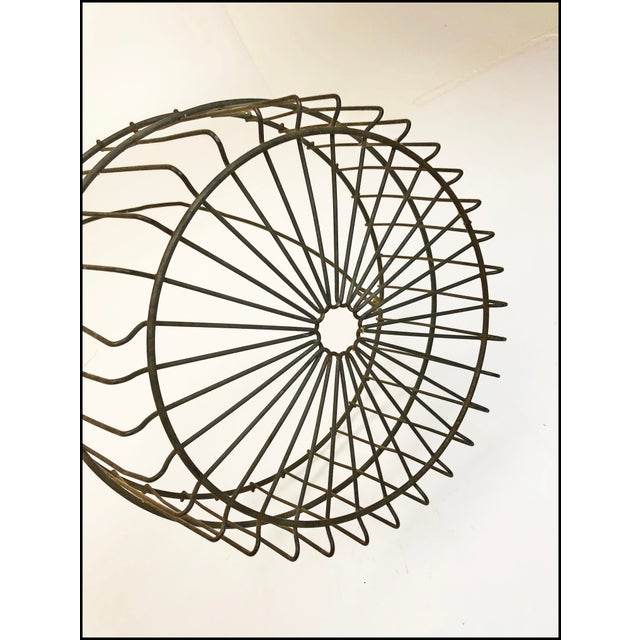 Metal Vintage Rustic Wire Metal Egg Basket With Handle For Sale - Image 7 of 10