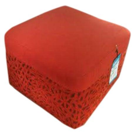 DellaRobbia Kenny Red Ottoman - Image 1 of 4