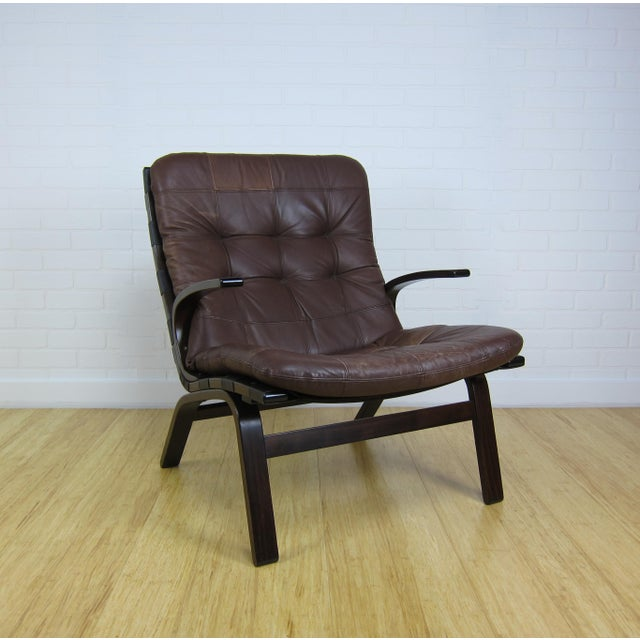 1960s Scandinavian Brown Leather Lounge Chair For Sale - Image 5 of 7
