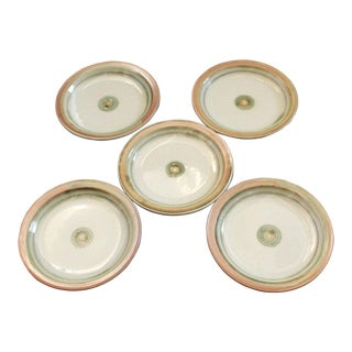 Vintage Terra Cotta Hand Glazed Salad Plates, Signed - Set of 5 For Sale