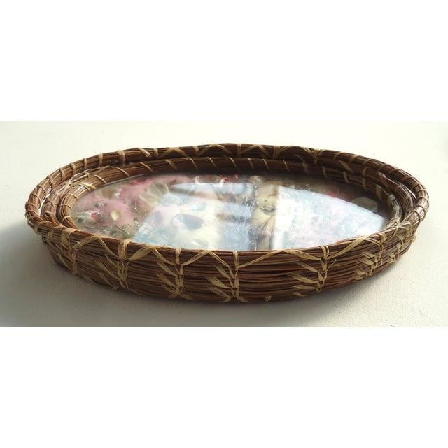 Antique Pine Needle Basket & Seashell Vanity Tray For Sale - Image 4 of 6
