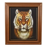 Image of Siberian Tiger Oil Painting Signed by Artist Dennis For Sale