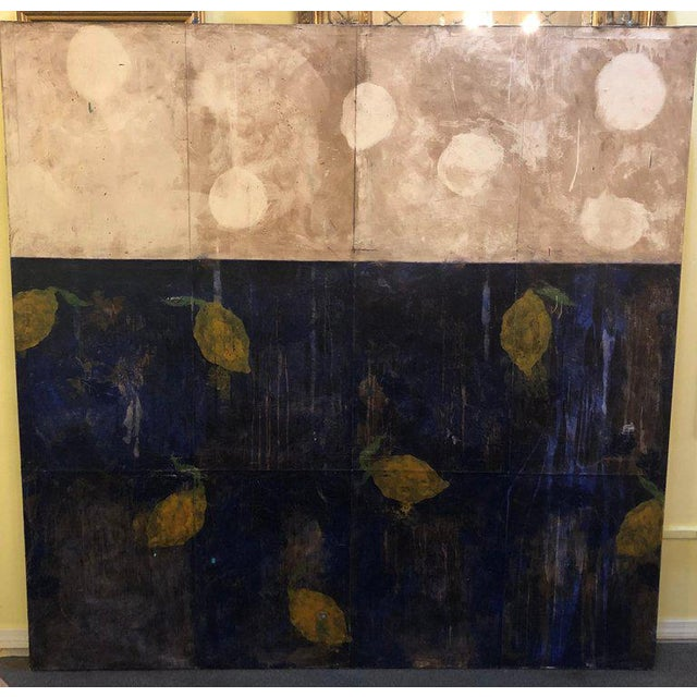 """Large contemporary French oil on canvas of lemons. Titled on reverse """"Citrons Dans Le Grand Canal"""" attributed to Pierre..."""