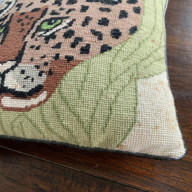 Vintage Mid Century Cheetah Needlepoint Pillow For Sale - Image 4 of 8