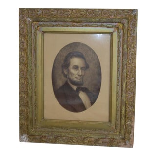 Antique Framed Abraham Lincoln Portrait Litho Print Gesso Frame For Sale