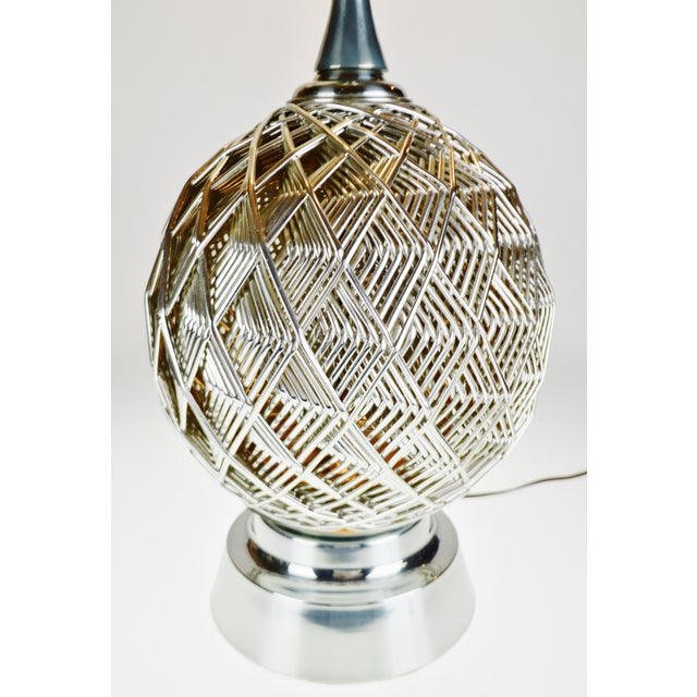 Brutalist Vintage Brutalist Style Woven Metal Look Table Lamp For Sale - Image 3 of 13