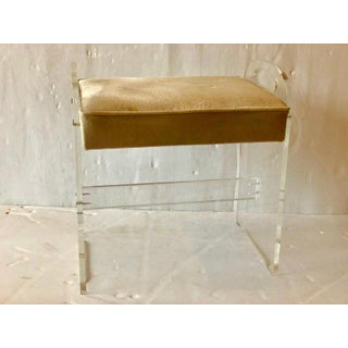 Postmodern Minimalist Lucite Upholstered Vanity Stool Preview