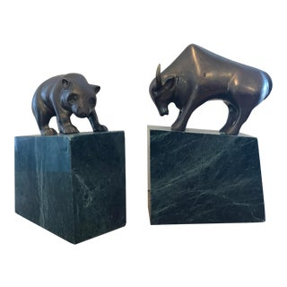 Vintage Gatco Brass on Granite Bull and Bear Bookends - a Pair For Sale