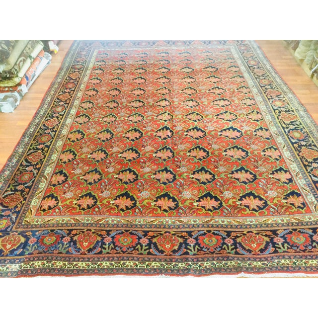 "Brick Red 1920's Persian Bijar Rug-9'1'x12"" For Sale - Image 8 of 10"