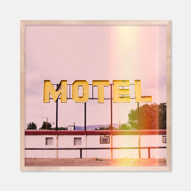 Contemporary Motel by Christine Flynn in Natural Maple Framed Paper, Small Art Print For Sale - Image 3 of 3