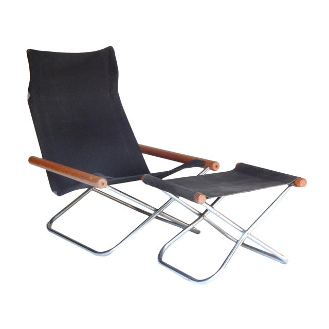 Canvas Folding Chair and ottoman by Takeshi NII For Sale - Image 9 of 9