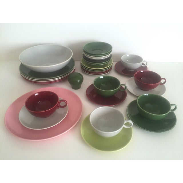 Boho Chic Mid Century Modern Universal Ballerina Multicolor Dinnerware - Set of 32 For Sale - Image 3 of 11