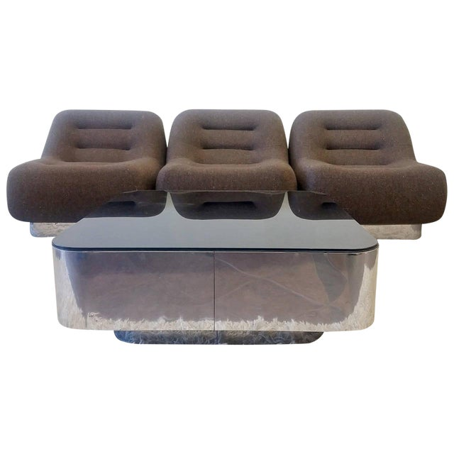 1970s M. F. Harty for Stow Davis Tomorrow Sofa Chairs and Table Suite - Set of 4 For Sale